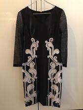 New KAREN MILLEN Dress Black Lace Long Sleeve Floral US 6  UK 10