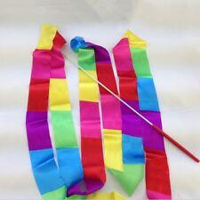 4M Rainbow Rhythmic Art Gymnastic Dance Ribbon Streamer Baton Twirling Rod NEW