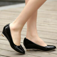 Women's Plus Size Patent Leather Pointed Toe Wedge Heel Work Office Pumps Shoes