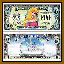"Disney 5 Dollars, 2007 Series ""T"" ""Aurora"" Disney Stores Uncirculated"