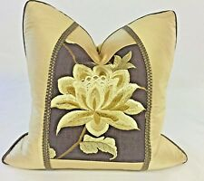 """""""EXOTIC FLOWER"""" ACCENT PILLOW IN SILK TAFFETA WITH EMBROIDERED INSET, GOLD"""