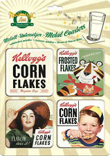 Retro 4 pack Metal Coasters KELLOGS  - 4 designs CORN FLAKES, FROSTED FLAKES