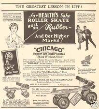 1920s antique CHICAGO Roller Skate SCHOOL TEACHER Movie Star KIDS TOY Sports Ad