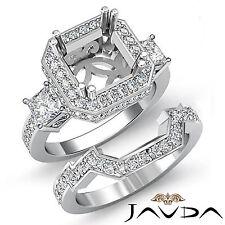 Diamante de Compromiso 3 Piedra Halo Anillo de Ajuste de Novia Juegos 18Ct