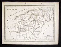 1833 Perrot Tardieu Map - Correze - Tulle Brives France - Miniature Antique Map