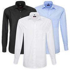 ETERNA Herren Langarm Hemd Modern Fit weiß blau & schwarz mit Brusttasche
