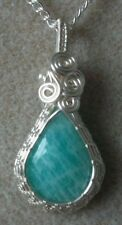 Amazonite Gemstone Cabochon Wire Wrapped Pendant Necklace