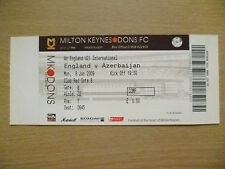 Ticket- England U21 International - ENGLAND v AZERBAIJAN, 8 June 2009 (Unused)