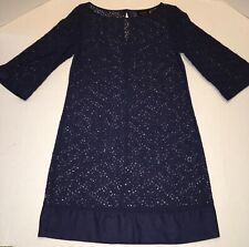Laundry by Shelly Segal Lace Cover Up size 2 Navy Blue 3/4 Sleeve