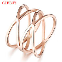 CIFBUY Unique Shaped Woman Bands Klassische Rose Gold Farbe Ringe Modeschmuck 戒指