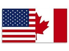 Half USA - Half Canada Flag (American Canadian) Sticker 2.5""