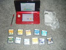 Nintendo 3DS FLAME RED Handheld System Console with Lot of 11 Games