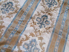 Vintage Mcm Curtains Linens Drapes Fabric Floral Blue Gold White 2.70 Yards