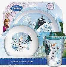 Disney Frozen OLAF Children Kids Dinner Breakfast Tumbler, Bowl and Plate Set