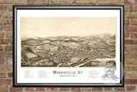 Vintage Morrisville, VT Map 1889 - Historic Vermont Art Old Victorian Industrial