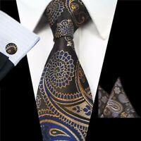 Tie Cufflinks Pocket Square Hanky Set Brown Blue Paisley Handmade 100% Silk