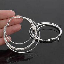 925 Silver Filled Women Multi-layer Round Large Hoop Loop Earrings Chic Jewelry