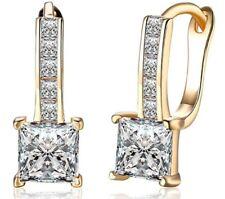 Yellow gold finish princess cut created diamond earrings gift idea free post