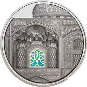 Tiffany Art Isfahan Black Proof Palau 25 Dollar Silver Coin 5 OZ 999 Silver