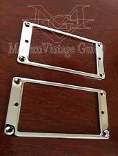 2 Modern Vintage Guitar Chrome Humbucker Pickup Mounting Ring Bezel Low Flat