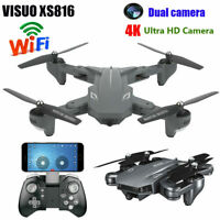 VISUO XS816 2.4G RC Drone FPV WiFi 4K Ultra HD Dual Camera Foldable Quadcopter