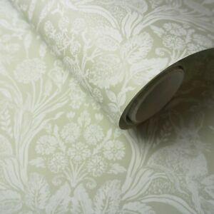 Sage Green Woodland Damask, Rabbit, Hedgehog, Hand Painted Effect Wallpaper