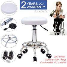 Adjustable White Salon Massage Stool Beauty Massage Swivel Chair Studio Brandnew