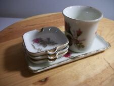 Vintage Royal Sealy China Moss Rose Flower Gold Trim Tray w 3 Ashtrays & Cup