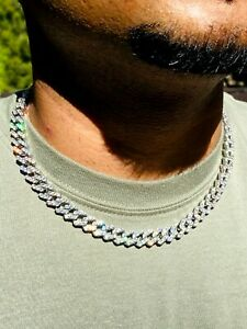 """Men's Miami Cuban Link Chain 10mm Ice Out 14k White Gold Diamond Real 18"""" Choker"""
