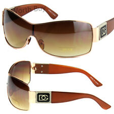 New DG Eyewear Womens Shield Metal Frame Designer Sunglasses Shades Retro Brown
