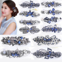 Fashion Women Girls Crystal Rhinestone Leaves Barrette Hair Clip Clamp Hairpin