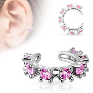 False Piercing Ear Cuff Rhinestone Pink