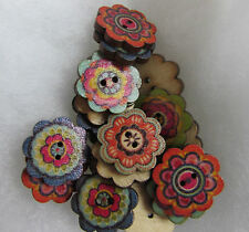 Wooden Flower Buttons Approx 2cm Assorted Colours and Packs of 10, 25 or 50