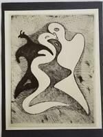 "Max Ernst  ""Dangerous Communications "" Mounted b/w Lithograph 1973 PlateSigned"