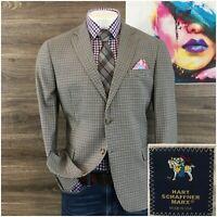 Hart Schaffner Marx Mens Sport Coat Blazer Wool Sport Jacket Size 44S Two Button