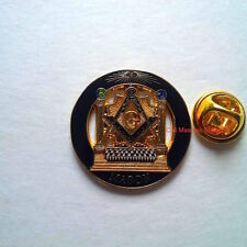 "Mason B&J 1"" Round Lapel Pin Golden With Black Enamel Blue Lodge Freemasonsonry"
