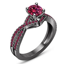 Women's Solitaire Engagement Ring Wedding Ring Pink Sapphire 14K Black Gold Over