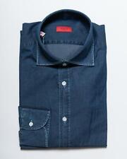 Isaia NWT $450 Denim Blue Washed Cotton 'Mix' Modern Fit Sport Shirt 41 16
