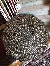 Vintage 70's Louis Vuitton Wood Handle Cotton Fabric Umbrella Parasol Very Good