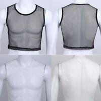 Men Fishnet Sheer Mesh Underwear Half Vest tank Top Lingerie Sweat Undershirts
