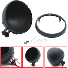 """7"""" Black Motorcycle Headlight Shell Lamp Cover Housing Holder Bucket Assembly X1"""