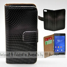 Wallet Phone Case Flip Cover for Sony Ericsson Xperia Z3 - 3D Block Wave Pattern