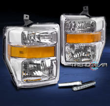 2008-2010 FORD F250 F350 SUPERDUTY PICKUP HEADLIGHT LAMP CHROME W/DRL LED SIGNAL