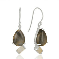 Natural Labradorite Designer Dangle Earrings 925 Silver Gemstone Jewelry