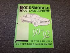 1990 1991 1992 Oldsmobile Cutlass Supreme Covertible Service Manual Supplement
