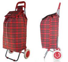 Hoppa Folding Lightweight Shopper Trolley Shopping Bag on Wheels Tartan Red NEW