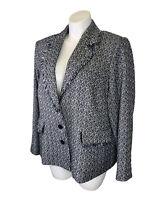 NWT KARL LAGERFELD PARIS Tweed Jacket Blazer Plus 22W Fringe Button Up Black New