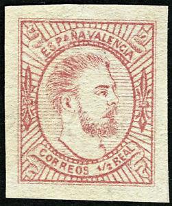 ESPAÑA 1874. Carlos VII. 1/2 real rosa. Nuevo(*). Edifil 159A (Tipo II).