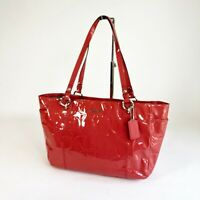 Coach Red Gallery Embossed Signature Patent Leather Tote Bag Shoulder F17729