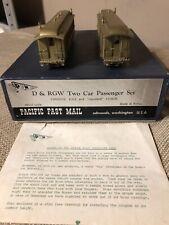 Pacific Fast Mail HOn3 Scale D & RGW Two Car Passenger Set #212 & Standard Coach